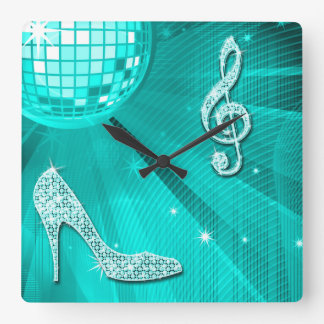 Sparkly Teal Music Note & Stiletto Heel Wallclocks