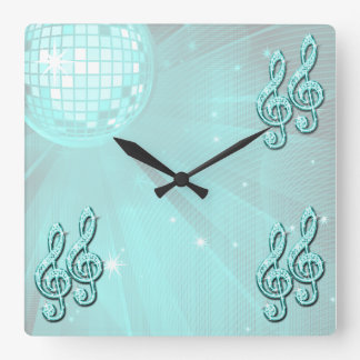Sparkly Teal Music Note Wallclock