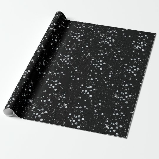 Sparkly Twilight Black Sky Silver Diamonds Wrapping Paper