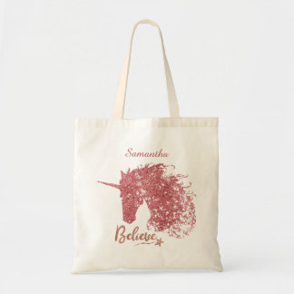 Sparkly Unicorn-Believe (Rose Gold) Tote Bag