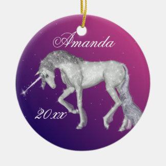 Sparkly Unicorn Fantasy Christmas Ornament
