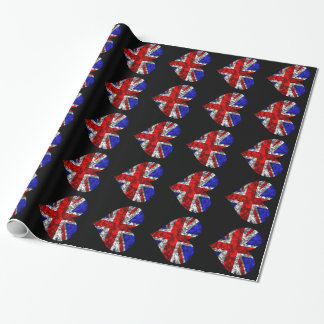 Sparkly Union Jack hearts Wrapping Paper
