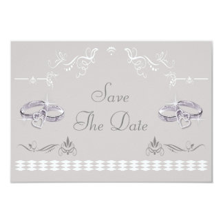 Sparkly Wedding Bands & Hearts Save The Date 9 Cm X 13 Cm Invitation Card