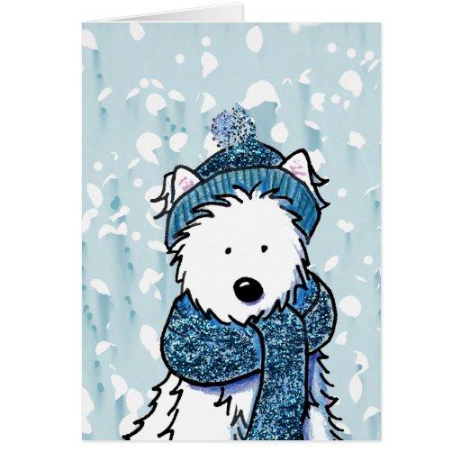 Sparkly Winter Westie Card