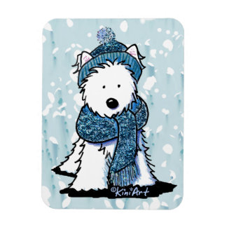 Sparkly Winter Westie Flexi Magnet