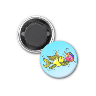 Sparky Hanuka Fish - Comic Cure Drawing Gift 3 Cm Round Magnet