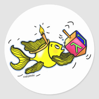 Sparky Hanuka Fish - Comic Cure Drawing Gift Round Sticker