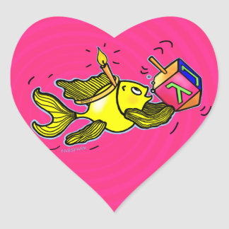 Sparky Hanuka Fish - Comic Cure Drawing Gift Heart Sticker