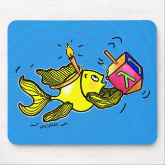 Sparky Hanuka Fish - Funny Cute Cartoon Mousepad