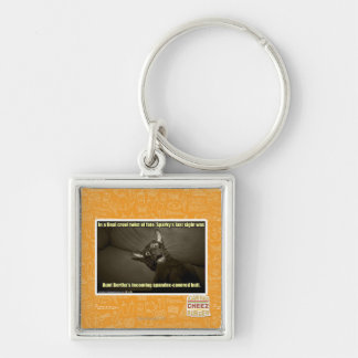Sparky's last sight Silver-Colored square key ring