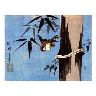 Sparrow and Bamboo Ando Hiroshige Postcards