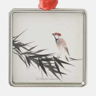 Sparrow and Bamboo Leaves Silver-Colored Square Decoration
