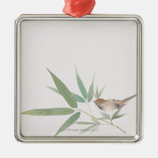 Sparrow and Bamboo Silver-Colored Square Decoration