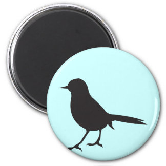 Sparrow bird black & white silhouette blue 6 cm round magnet