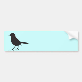 Sparrow bird black & white silhouette blue bumper sticker