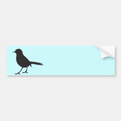 Sparrow bird black & white silhouette blue bumper sticker