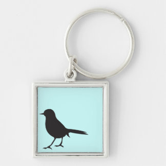 Sparrow bird black & white silhouette blue Silver-Colored square key ring