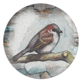 Sparrow: Bird, Watercolor, Stones, Rocks Plate