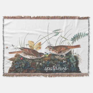 Sparrow Birds Audubon Wildlife Throw Blanket