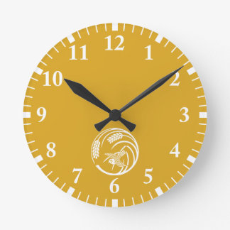 Sparrow in rice-plant circle wall clock