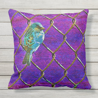 SPARROW ON A FENCE(Purple) Outdoor Cushion