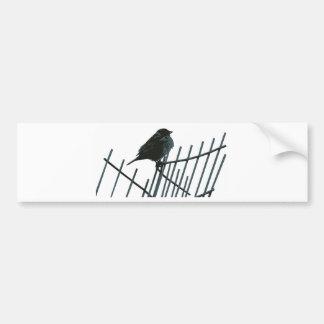 Sparrow on fence - Vector Bumper Sticker