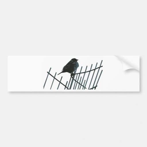Sparrow on fence - Vector Bumper Stickers