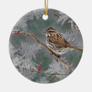 Sparrow  on twigs ornamant round ceramic decoration