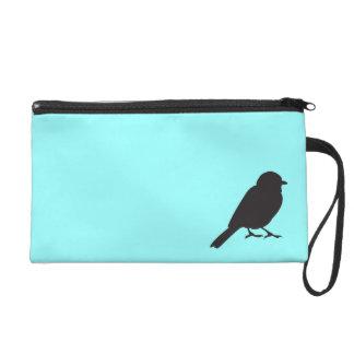 Sparrow silhouette chic blue swallow bird wristlet purses