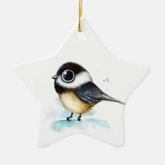 Sparrow watercolor ceramic star decoration