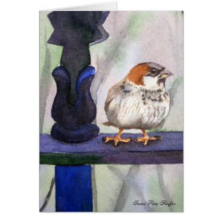 Sparrow watercolor painting card