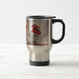 Sparrow With Hat And Merry Christmas Travel Mug