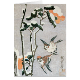 Sparrows and Camellia in Snow by Ando Hiroshige Card