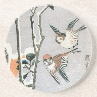 Sparrows and Camellia in Snow by Ando Hiroshige Sandstone Coaster