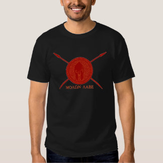 Sparta Spartan shield with spear come and get them Tshirt
