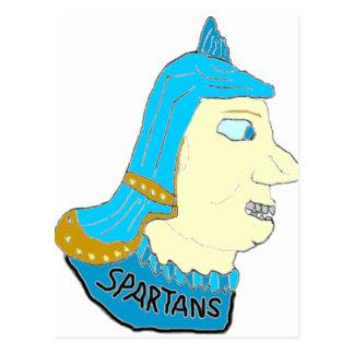 Spartan Head Logo Aqua/Brown/Yellow Post Cards