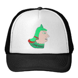 Spartan Head Logo Green/Red/Peach Mesh Hat