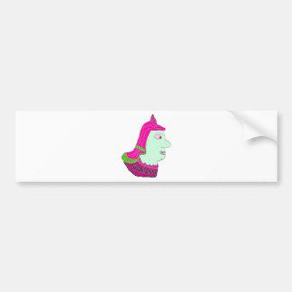 Spartan Head Logo Pink Green Sea Green Bumper Sticker