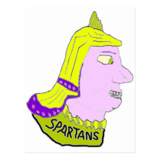Spartan Head Logo Yellow and Mauve Postcards