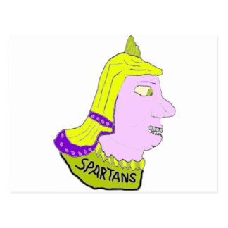 Spartan Head Logo Yellow and Mauve Postcards