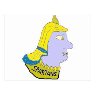 Spartan Head Logo Yellow/Blue/Puce Post Cards