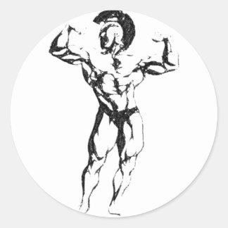 Spartan Muscle Round Sticker