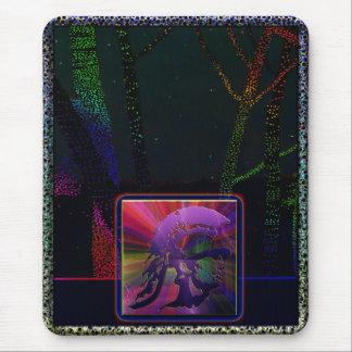 Spartan Soldier Tree Trunk Clrful Lights Mouse Pad