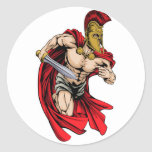 Spartan sports mascot round sticker