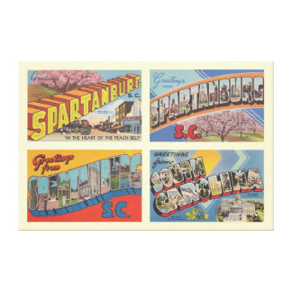 Spartanburg South Carolina Vintage Postcard Canvas Print