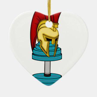 Spartan's helmet on dumbbell ceramic heart decoration