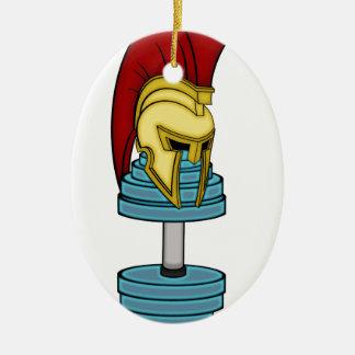 Spartan's helmet on dumbbell christmas ornament