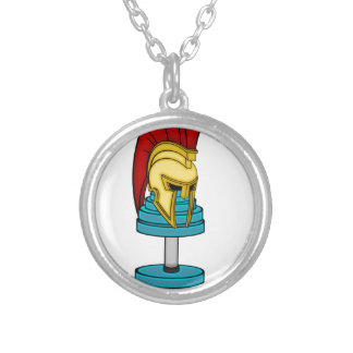 Spartan's helmet on dumbbell silver plated necklace