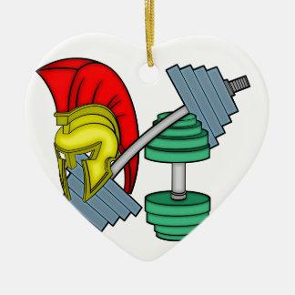 Spartan's helmet on gym equipment ceramic heart decoration