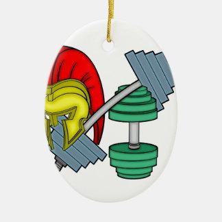 Spartan's helmet on gym equipment christmas ornament